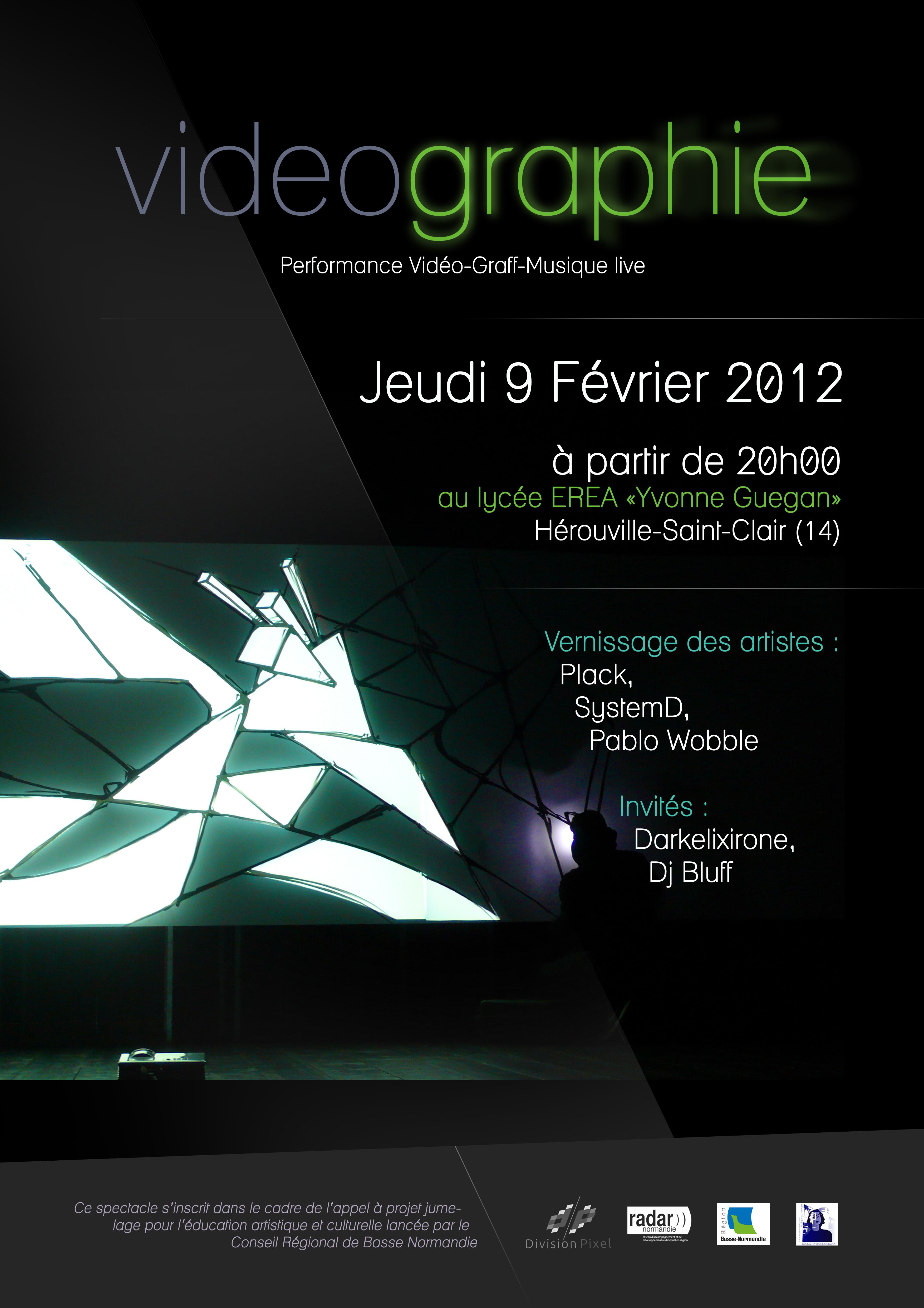 Affiche vernissage Vidéographie à l'EREA